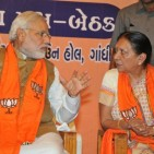 Photo : Wikimedia Commons Narendra Modi with Anandiben at a meeting in May 2014