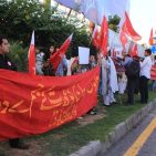 Men and women join hands in protest against honor killings  Photo: Coutesy Awami Workers Party public Facebook