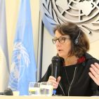 Special Rapporteur on violence against women, Dubravka Simonovic, speaks to the press in Buenos Aires, November 21, 2016. Photo UNIC /Buenos Aires.