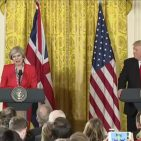 British PM Theresa May and US President Donald Trump after White House talks  January 27, 2017 Photo: Screenshot/WH Official video