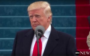 President Donald Trump speaking after inaugural ceremony on Capitol Hill, January 20, 2017 Photo Screenshot/ABC News