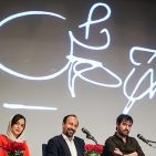 Farhadi in a The Salesman's press conference. Taraneh Alidoosti in his left and Shahab Hosseini in right Photo by Hamed Malekpour [CC BY 4.0 (http://creativecommons.org/licenses/by/4.0)], via Wikimedia Commons