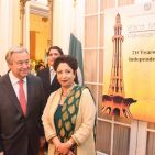 UN Secretary General Antonio Guterres  with Ambassador Maleeha Lodhi March, 23, 2017 Photo : Pakistan Mission to UN via Ambassador Facebook