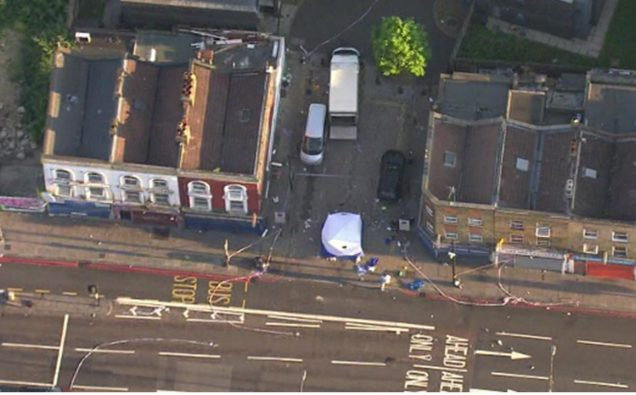 An aerial view of the site of Finsbury Park London attack  Photo: Screenshot/ BBC
