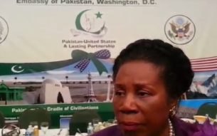 Congresswoman Sheila Jackson Lee, speaking to reporters at the Pakistani embassy in Washington D.C. June 21, 2017 Photo: Views and News