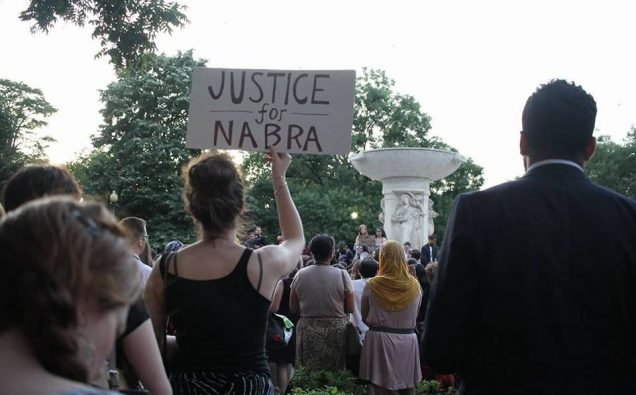 An interfaith crowd attends memorial for Nabra Hassenen at Dupont Circle in Washington D.C.  Photo: Facebook/Imam Ali Siddiqui