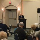 Ambassador Akbar Ahmed delivers a Shabbat dinner lecture at Temple Beth Ami in Rockville Md. on Friday, October 20, discussing the importance of strengthening Jewish-Muslim relations through understanding and friendship.