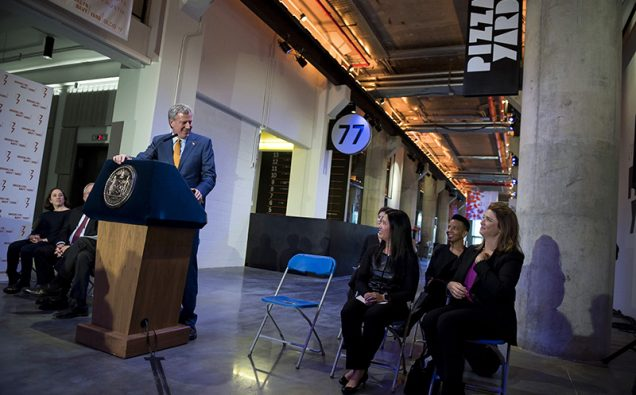 Mayor de Blasio opens Building 77  Photo: NY Mayor's Office