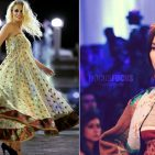 On the right a Pakistani model Photo : HocusFocus/ Wikimedia Commons On the left the photo from a Desi Fashion in Washington D.C  Kuki Concepts, a Pakistani designer. Photo Aziz Ahmed