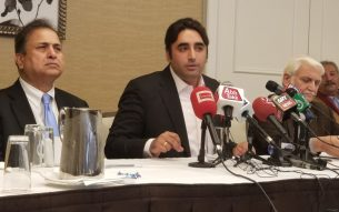 Bilawal Bhutto Zardari speaks at a Press Conference in Washington D.C. February 9, 2018 Photo Credit: Voice of America
