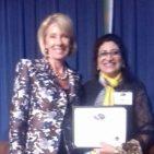 Dr. Noor Fatima with Secretary Education Betsy DeVos in Washington D.C. April 4, 2018