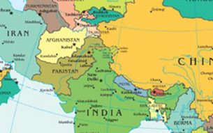 A map zooming on Pakistan and its neighbors sourced from a larger : CIA world map